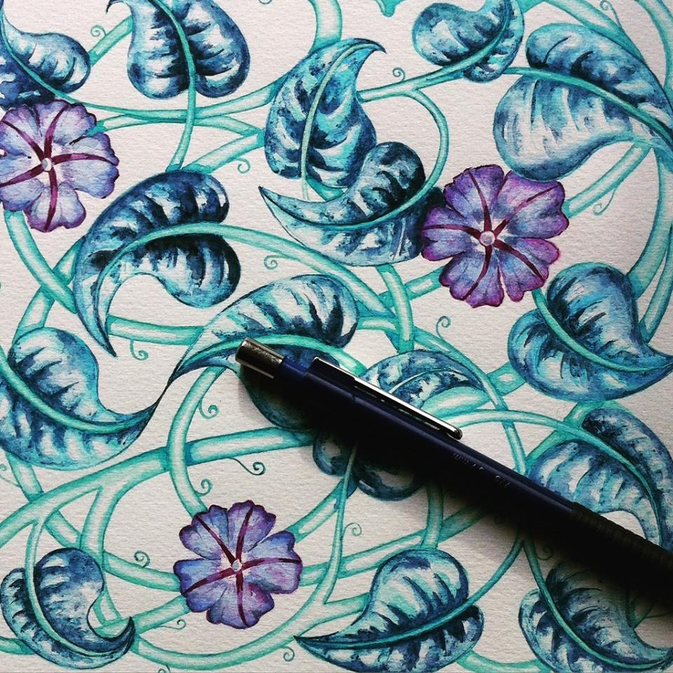 Ipomea pattern watercolor by timone