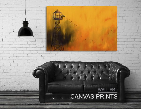 CANVAS PRINTS- autumn tower oil painting by timone