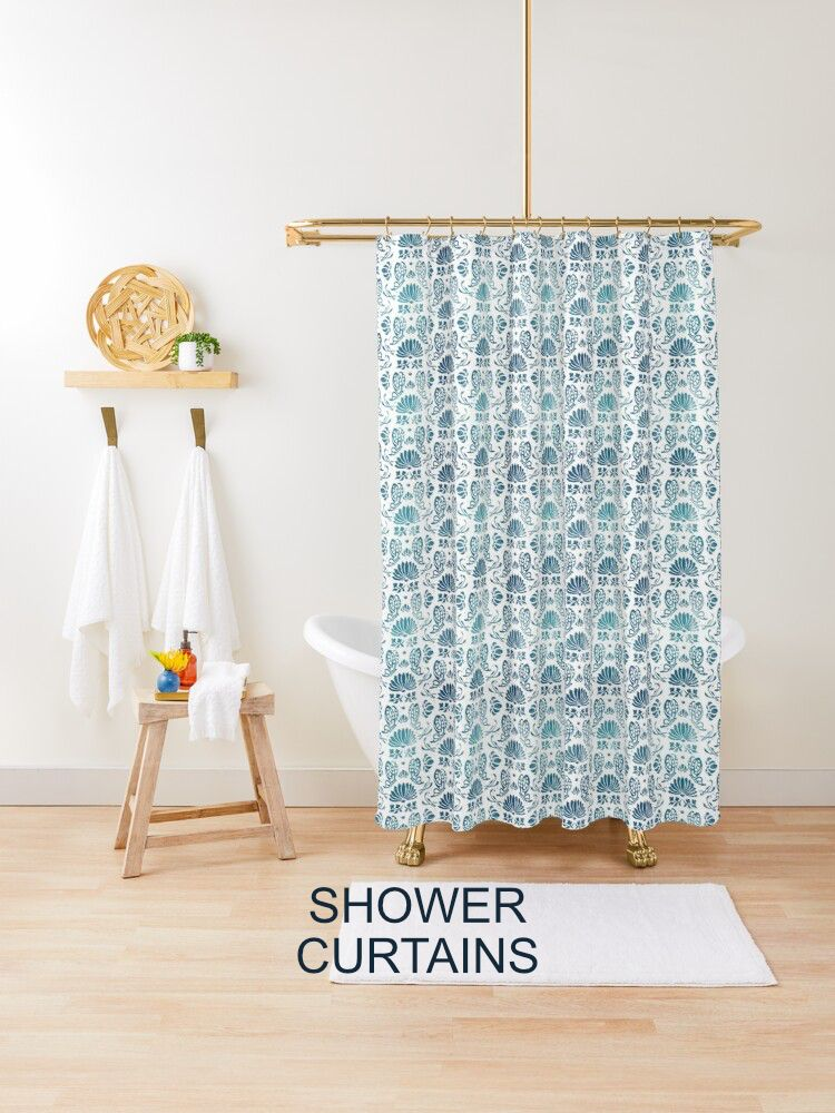 Portuguese pattern design on shower curtain by timone