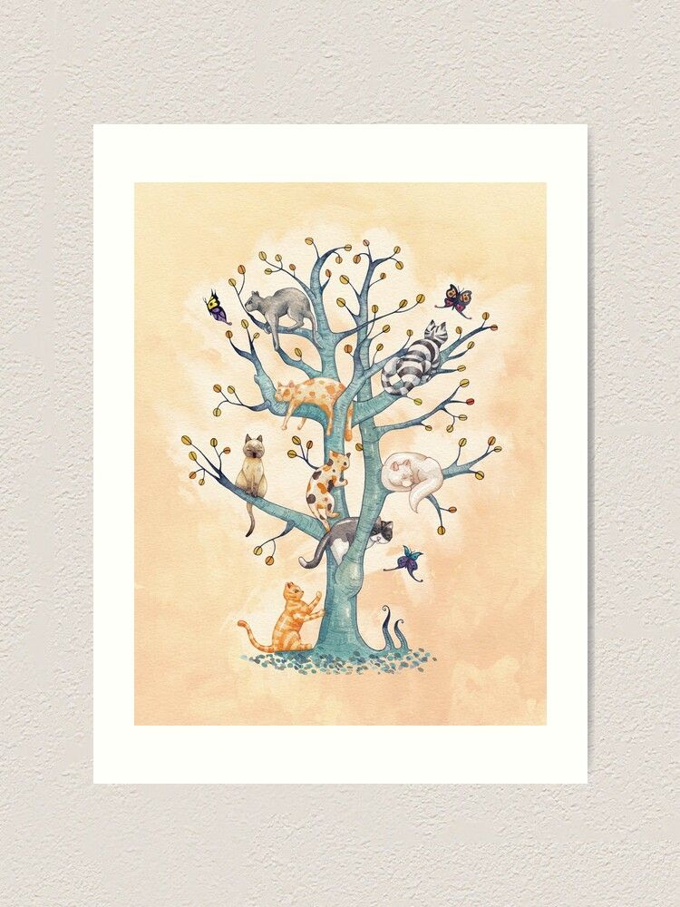 Tree of cat life watercolor illustration by timone